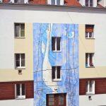 Fassadenmalerei in blau